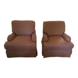 Cream & Rose Scalamandre Club Chairs - a Pair For Sale