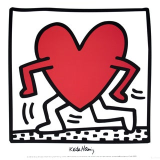 Keith Haring 'Untitled (1984)' Pop Art Black & White,Red Italy Offset Lithograph For Sale