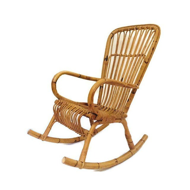 Mid Century Sculpted Bamboo Rocking Chair High Back Franco Albini Style Rocker For Sale - Image 10 of 11