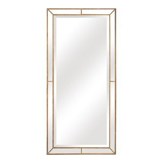 Roxeburghe Beveled Beaded Gold Full Length Mirror For Sale
