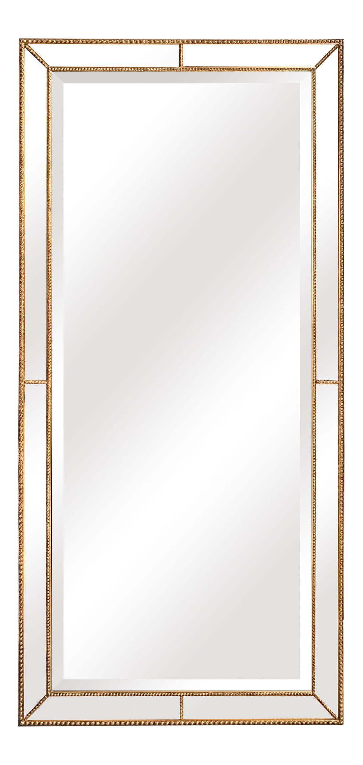 Roxeburghe Beveled Beaded Gold Full Length Mirror Chairish