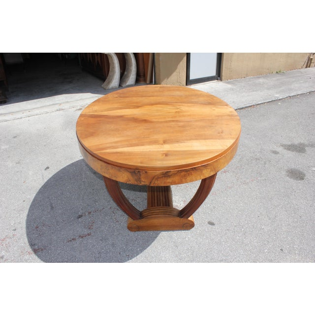 Art Deco French Art Deco Solid Walnut Oval Dining Table ''U'' Legs Base Circa 1940s For Sale - Image 3 of 13