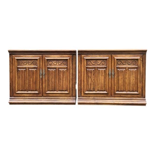 Ethan Allen Royal Charter Oak Library/Wall Unit Base Cabinets - a Pair For Sale