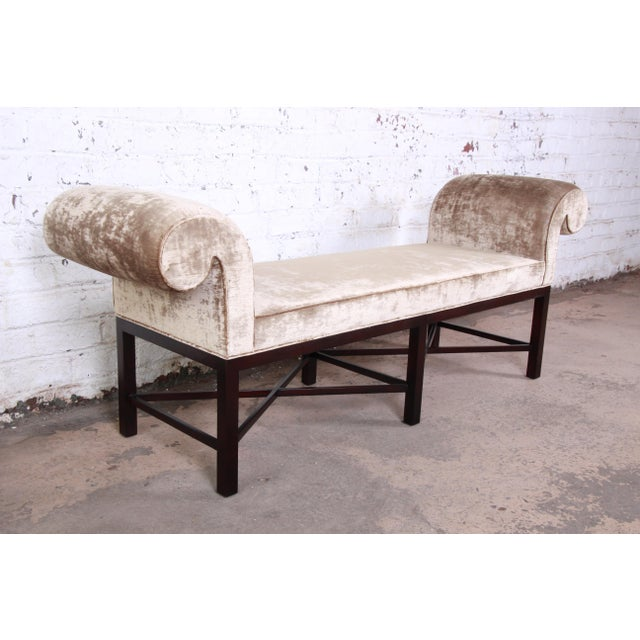 Brown Baker Furniture Mahogany and Velvet Window Bench For Sale - Image 8 of 12
