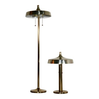 Brass Deco Pagoda Floor and Table Lamp after Walter Von Nessen - Pair For Sale