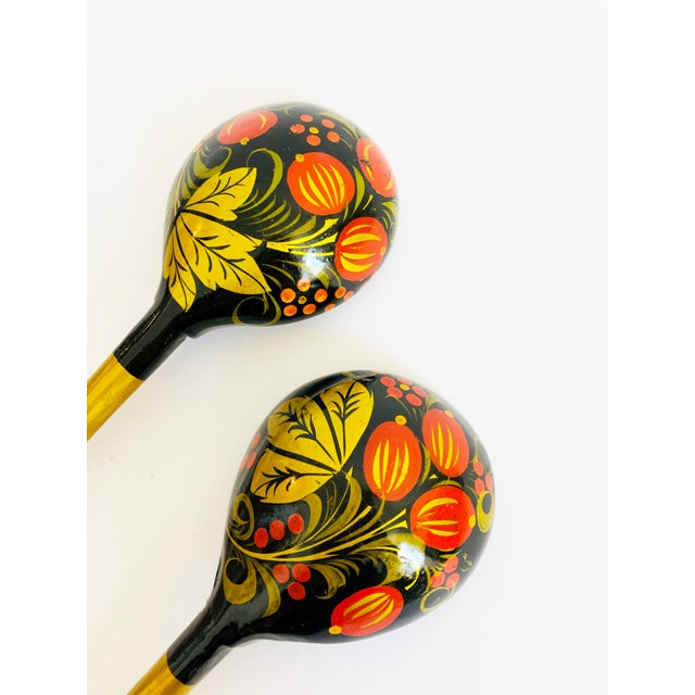 Vintage Russian Lacquerware Salad Servers For Sale In San Francisco - Image 6 of 7