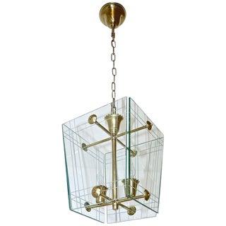 1950s Italian Fontana Arte Style Hall Entry Glass Pendant For Sale