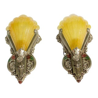 Pair of Art Deco Silver and Polychrome Slipshade Sconces For Sale