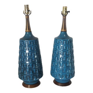 Bitossi Style Mid-Century Turquoise Blue Ceramic Lamps - A Pair