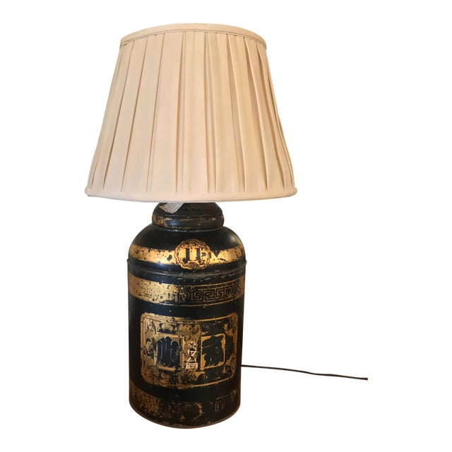 19th C. Tole Tea Canister Lamp For Sale