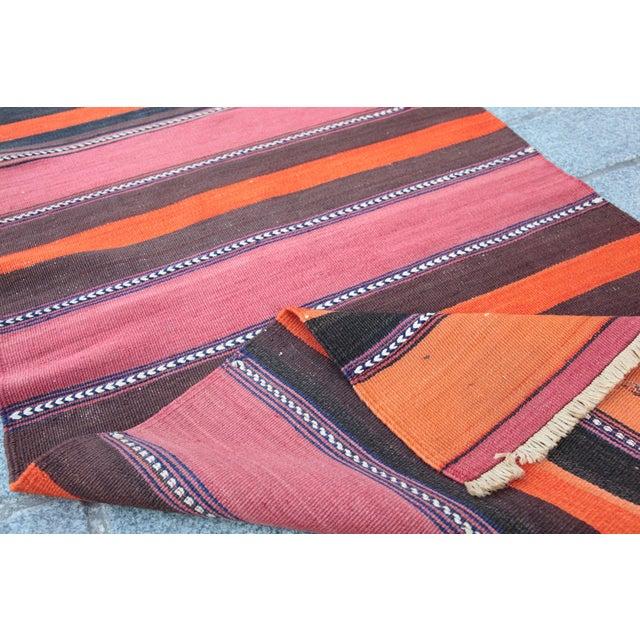 Turkish Floor Orange Stripe Kilim Rug - 4' x 2' 7'' - Image 10 of 11