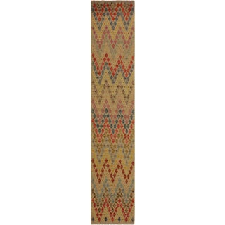 Davina Gray/Blue Hand-Woven Kilim Wool Rug -2'11 X 9'9 For Sale