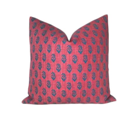 Red & Blue Rajmata Pillow Cover For Sale
