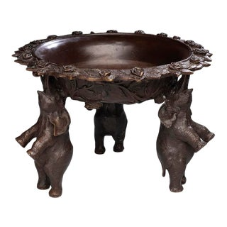 Turn of the Century Bronze Bowl With Standing Elephants For Sale