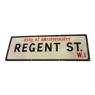Vintage City of Westminster Regent St Porcelain Sign For Sale