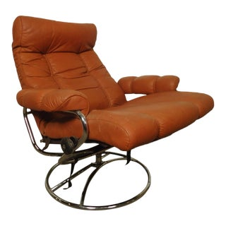 Mid-Century Reclining Chair and Ottoman by Ekornes Stressless For Sale