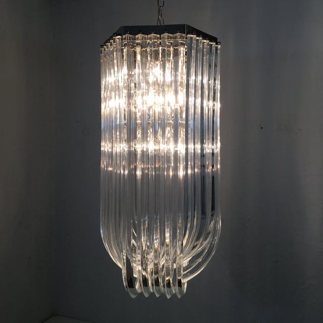 Chrome Lucite Ribbon Chandelier For Sale - Image 7 of 10