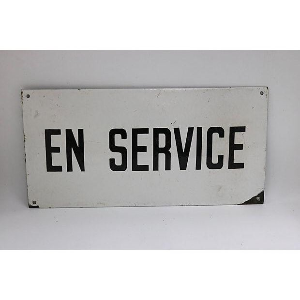 "French Vintage French Industrial ""In Service"" Sign For Sale - Image 3 of 3"
