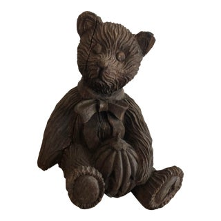 Wooden Carved Teddy Bear For Sale