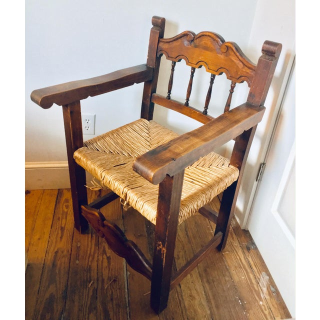 Antique Mexican Frailero Style Chair With Woven Rush Seat in Pine. Perfect for a Spanish style home.