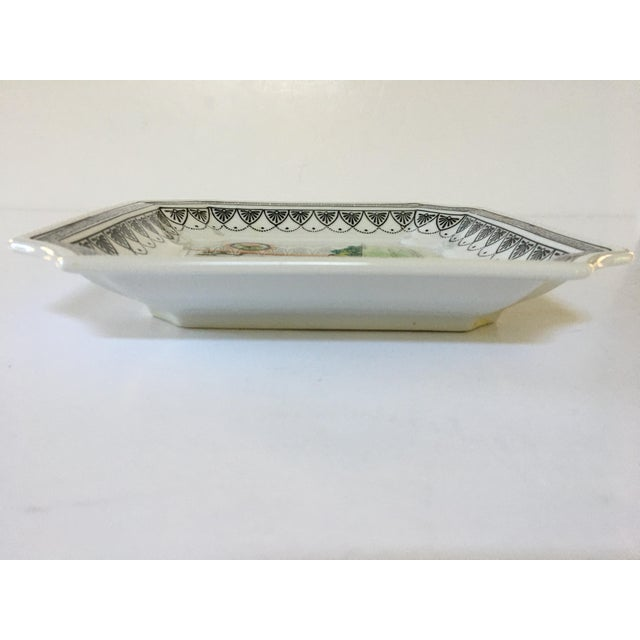 White Hand Painted Asian Clipped Edge PorcelainTray/Catchall by Sadek - Made in Japan For Sale - Image 8 of 12
