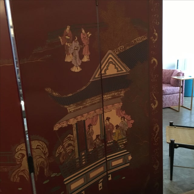 Signed Mid Century Modern Maitland Smith Four-Panel Asian Themed Wood & Brass Screen - Image 8 of 11
