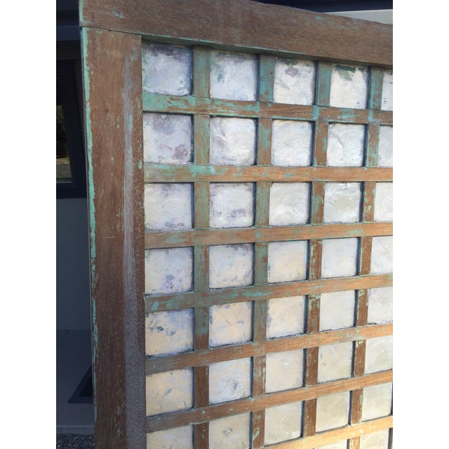 1900 - 1909 Antique Capiz Shell Two-Panel Hinged Screen For Sale - Image 5 of 6