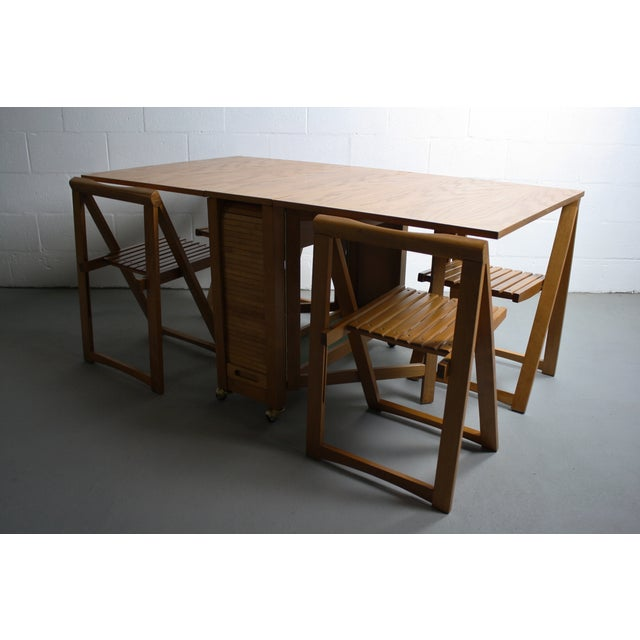 Mid-Century Drop Leaf Hideaway Table With 4 Chairs For Sale - Image 9 of 9
