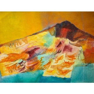 Mid-Century Gouache Abstract Landscape by Jason Schoener For Sale