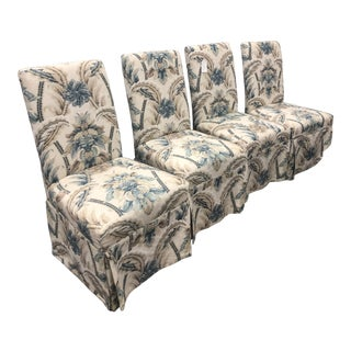 Parsons Floral Linen Fabric Chairs - Set of 4 For Sale