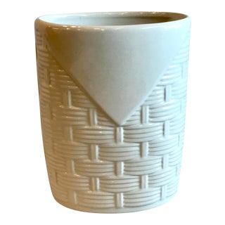 Vintage Pfaltzgraff Vase With Basketweave Pattern For Sale