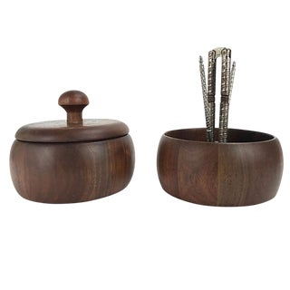 Mid-Century Modern Walnut Nut Bowls - a Pair For Sale