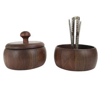 Mid-Century Modern Walnut Nut Bowls - a Pair