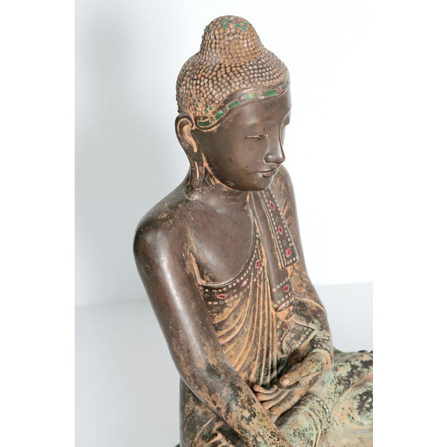 Bronze 19th Century Patinated and Gilt Bronze Burmese Buddha For Sale - Image 7 of 11