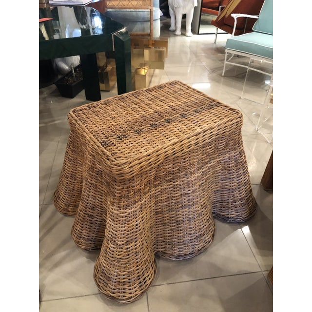 1970s Vintage Palm Beach Tropical Trompe l'Oeil Wicker Draped Coffee Table For Sale - Image 5 of 13