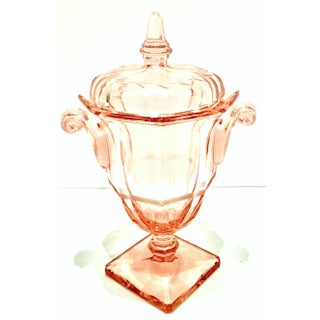 Mid-20th Century Pink Depression Glass Footed Pedestal Vanity Jar Preview