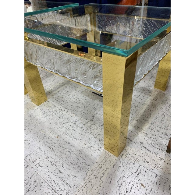 Gold Pair of Modern Italian Murano Glass and Brass End Tables For Sale - Image 8 of 9