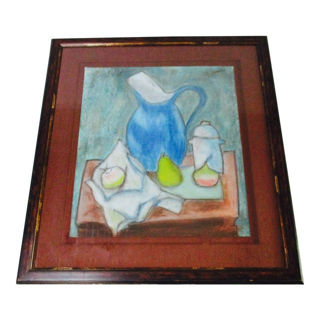 Still Life Blue Water Pitcher & Fruit Painting - Image 1 of 8