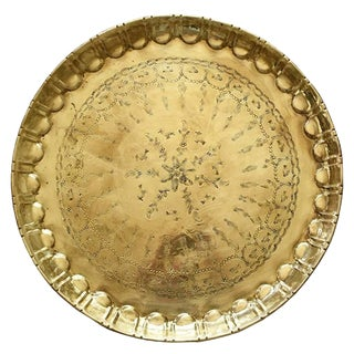 Early 20th Century Moroccan Round Hammered Brass Tea Tray