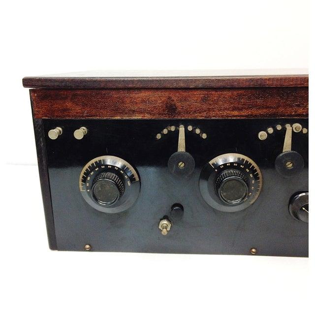 1920s 4 Tube Regen Wood Case Radio & C. Brandes Headphones - Image 2 of 10