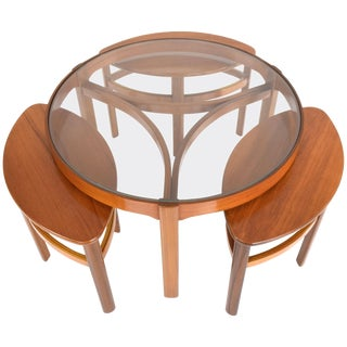 Midcentury Oak Three Coffee Nesting Tables by Nathan, 1960s For Sale