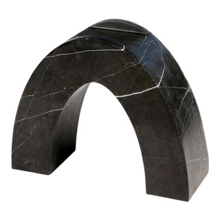 Found II Black Marble Side Table No.2 by a Space For Sale