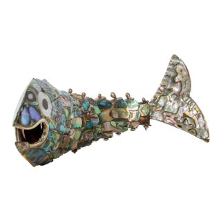 Los Castillo Abalone Brass Fish Bottle Opener #1 Mexico For Sale