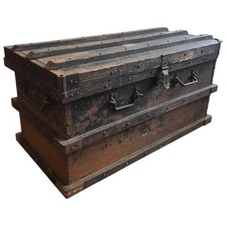 Industrial Iron and Wood Large 19th Century Trunk For Sale
