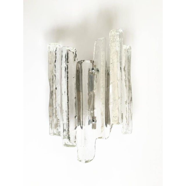 Glass Ice Glass Sconce In the Style of Kalmar - Image 5 of 10