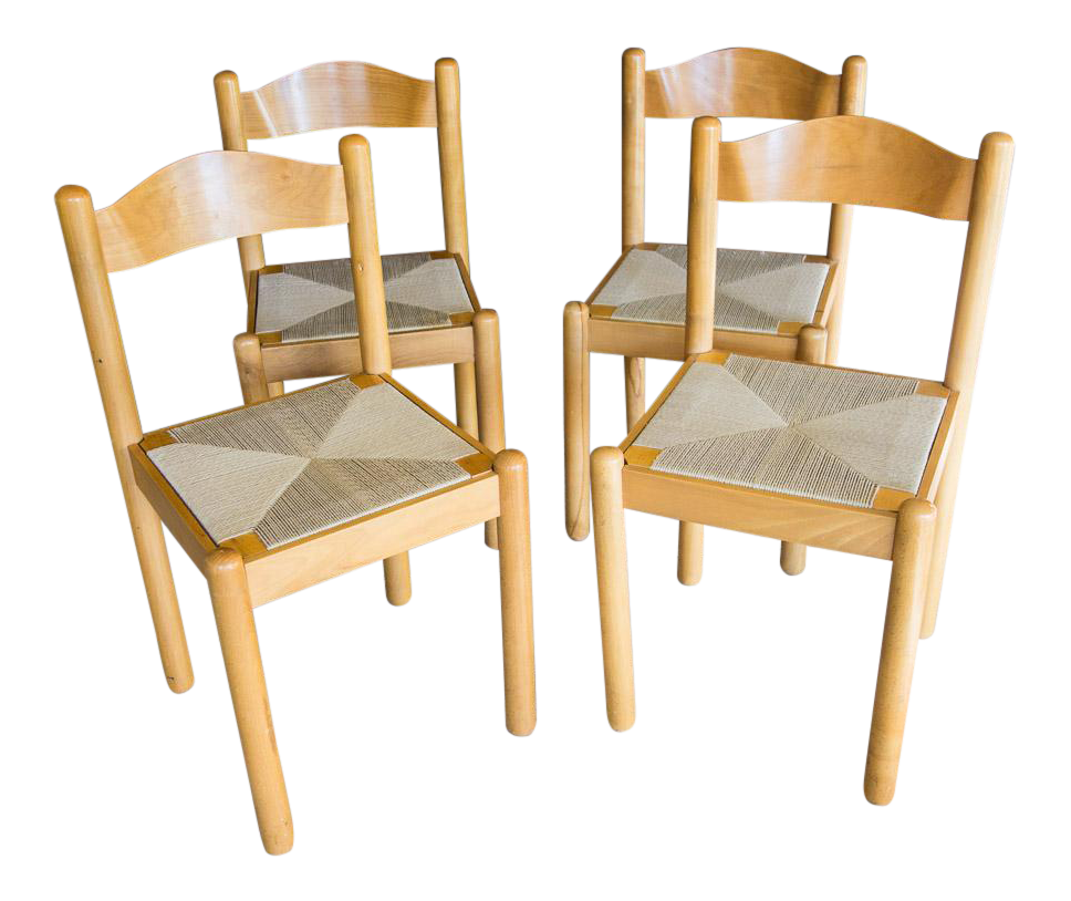 Mid Century Style Italian Rush Seat Dining Chairs   Set Of 4