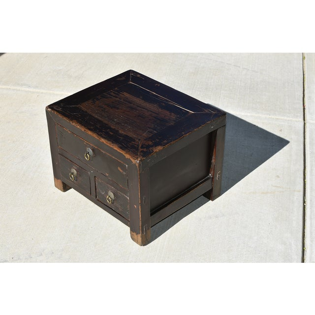 Antique Small 3 Drawers Heavy Chest For Sale - Image 11 of 13