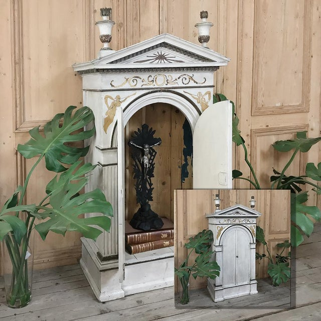 19th Century French Neoclassical Painted Tabernacle features exceptional Romanesque architecture, including a Greco-Roman...