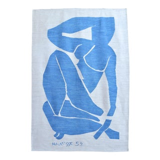 Henri Matisse - Blue Nude 3 - Inspired Silk Hand Woven Flat Weave Area - Wall Rug 4′8″ × 6′10″ For Sale