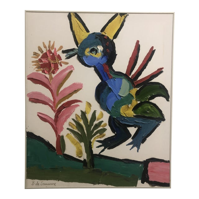 1970s Vintage Barbara DeSassure Abstract Bird Painting For Sale